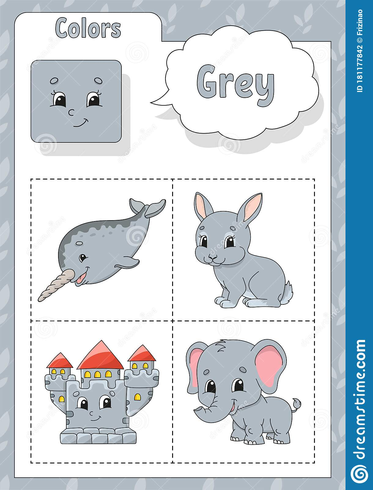 Learning Colors Grey Color Flashcard For Kids Cute