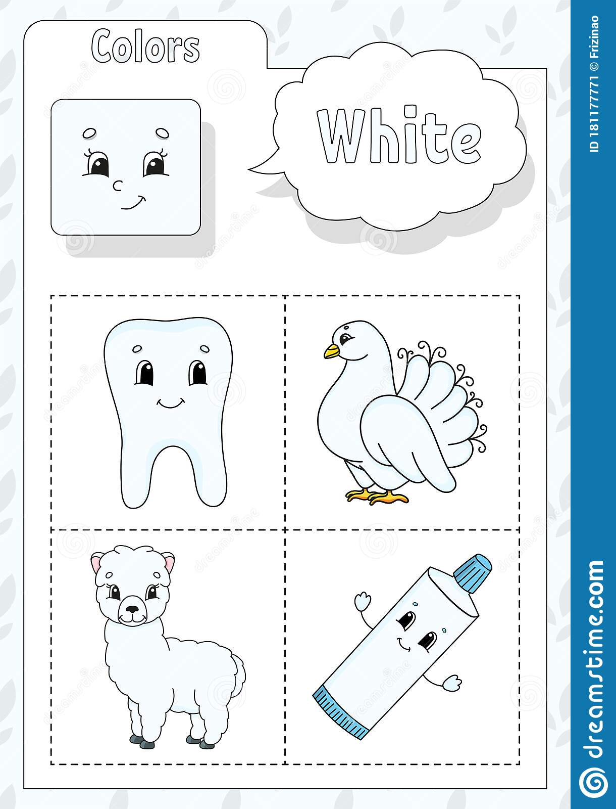 Learning Colors White Color Flashcard For Kids Cute