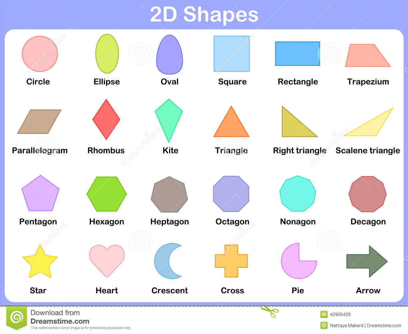 Learning The 2d Shapes For Kids Stock Vector
