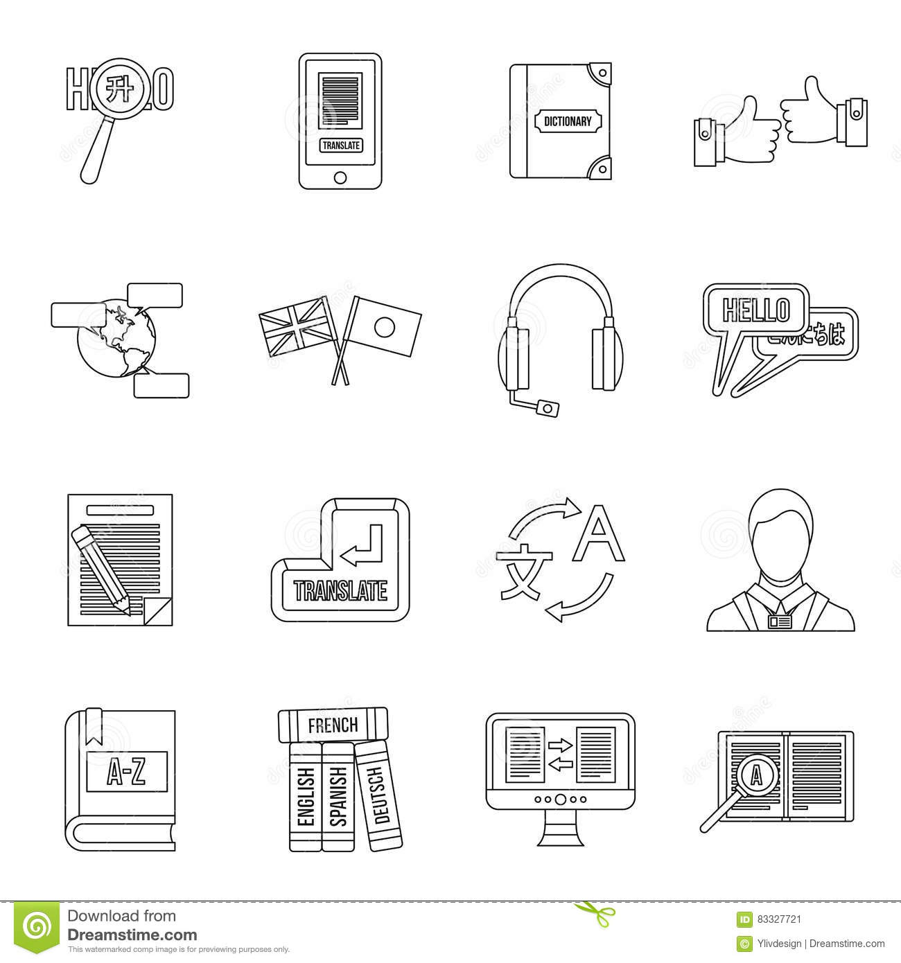 Languages Icons Set, Simple Style Vector Illustration