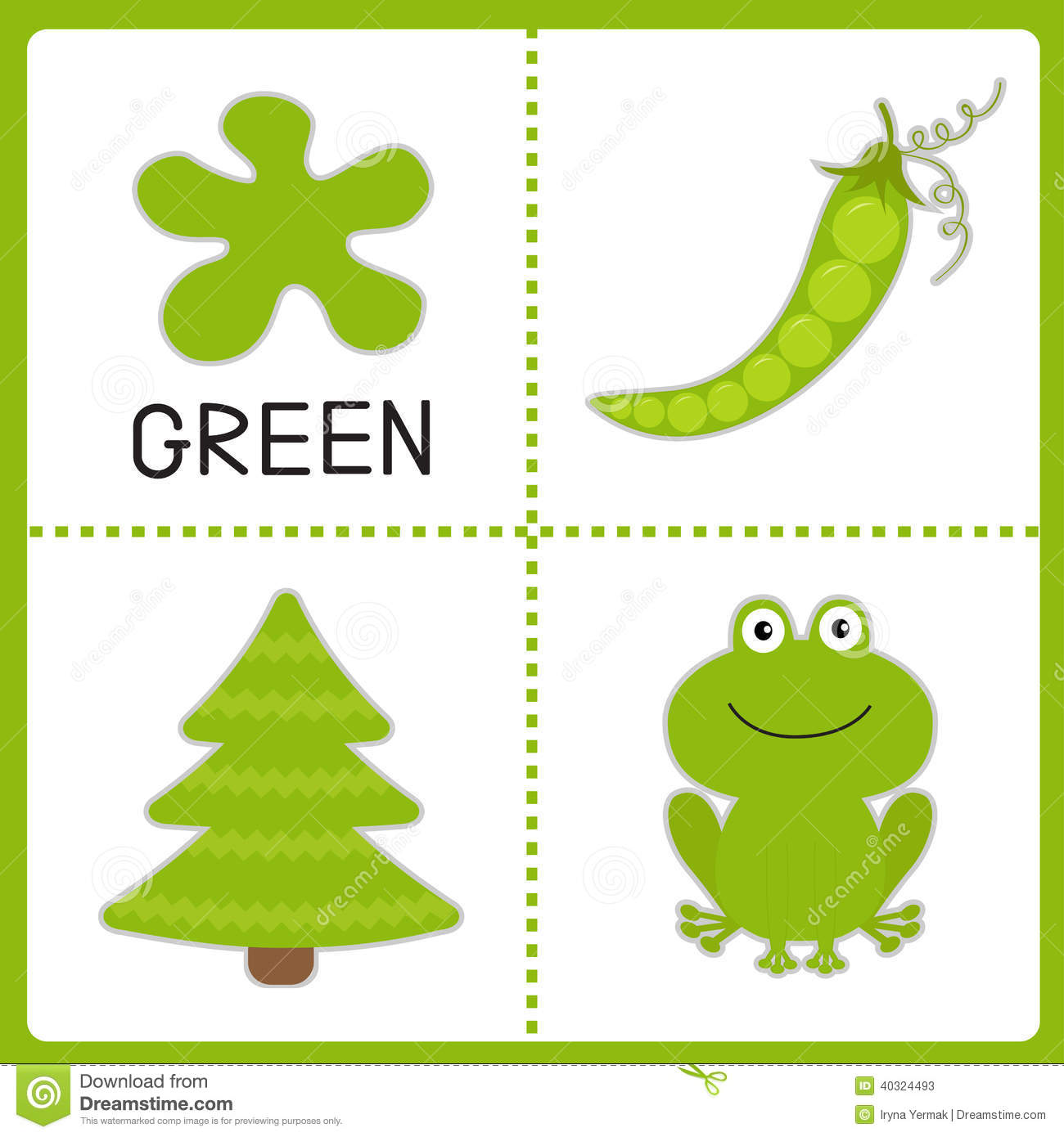 Learning Green Color Frog Green Pea And Fir Tree