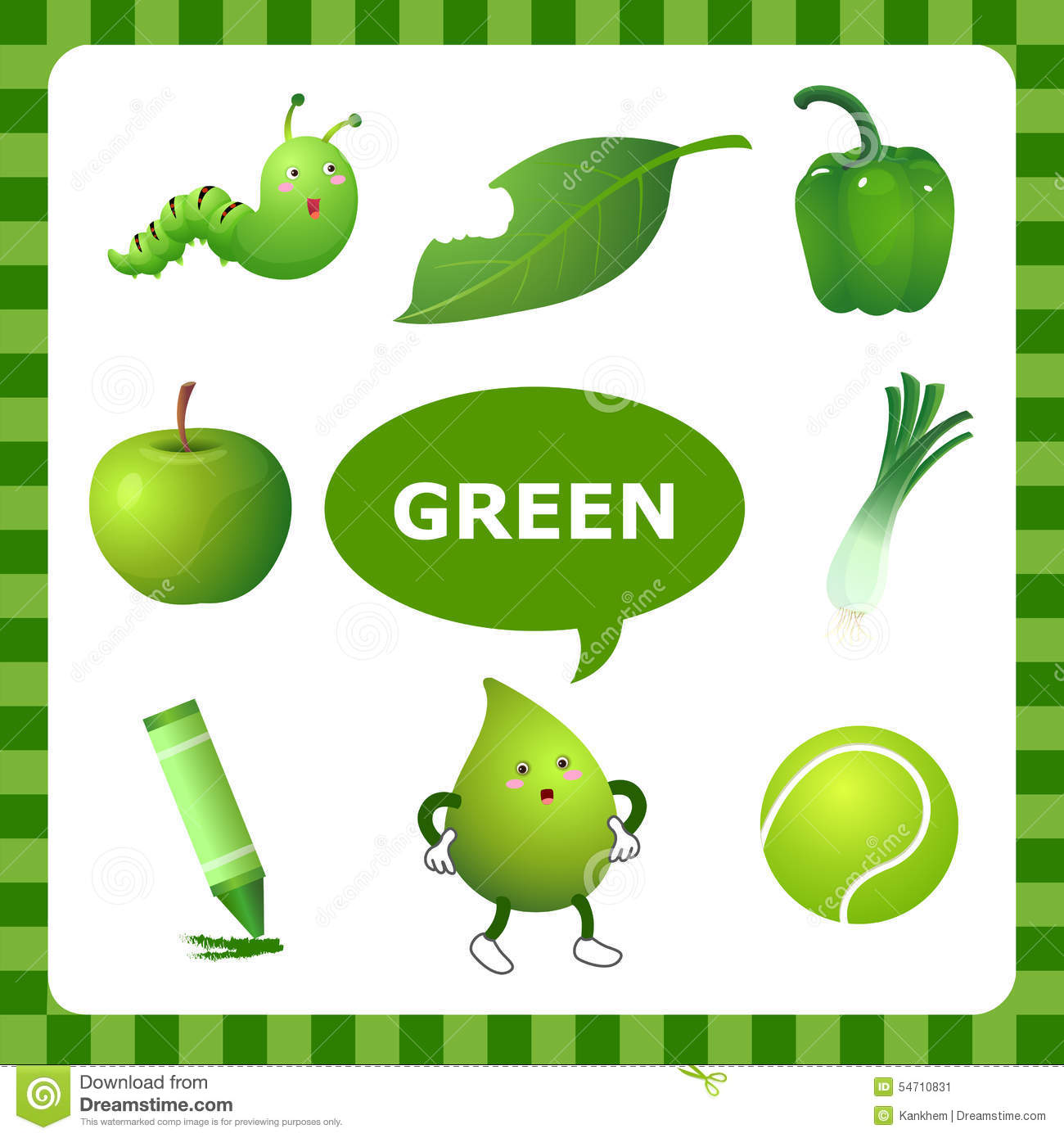 Learning Green Color Stock Vector
