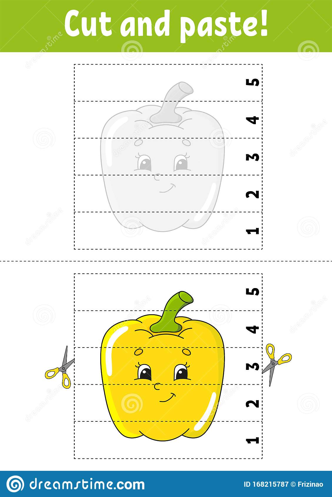 Learning Numbers 1 5 Cut And Glue Pepper Character
