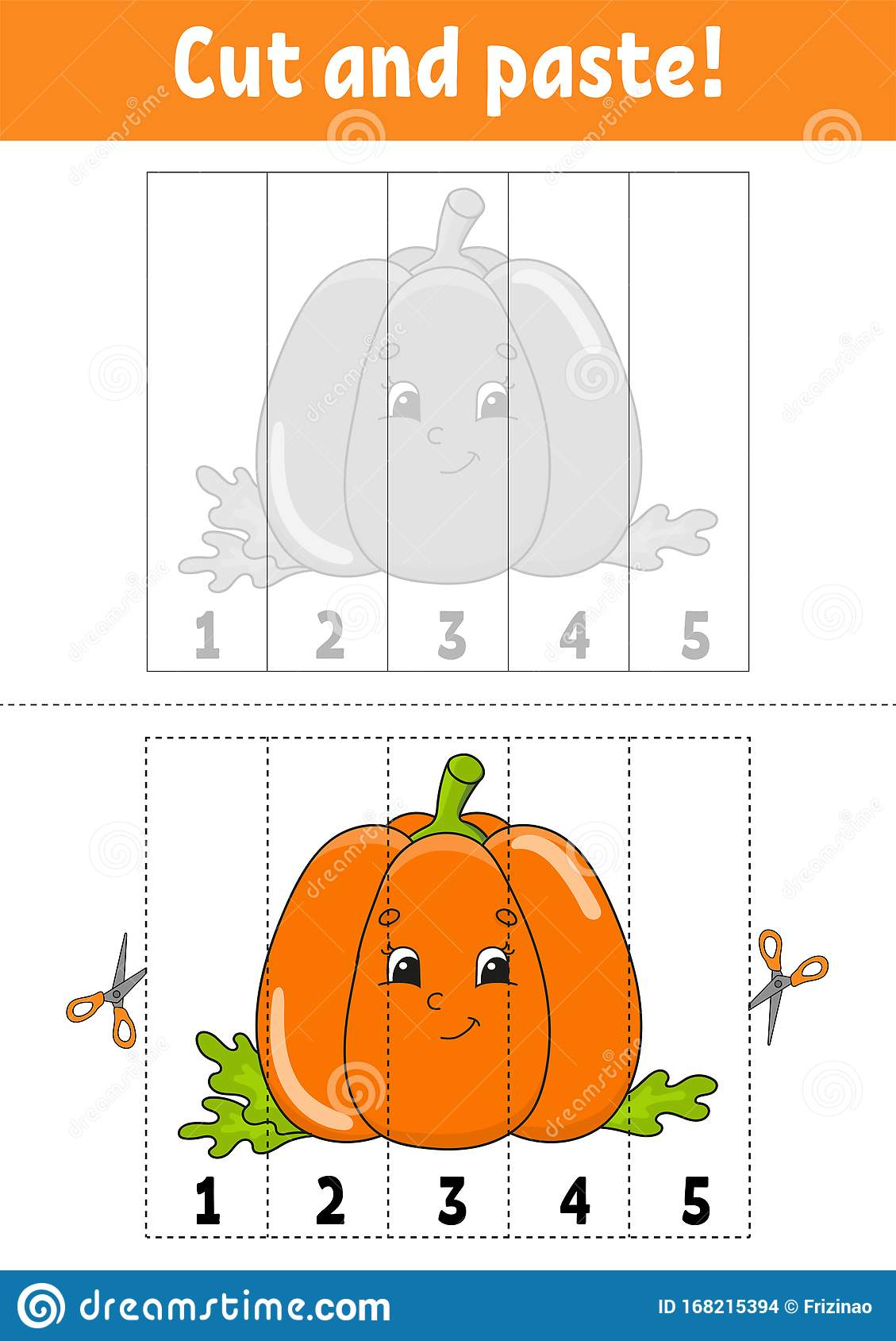 Learning Numbers 1 5 Cut And Glue Pumpkin Character