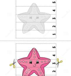 Learning Numbers 1-5. Cut And Glue. Starfish Character. Education  Developing Worksheet. Game For Kids. Activity Page. Color Stock Vector -  Illustration of beach [ 1689 x 1129 Pixel ]