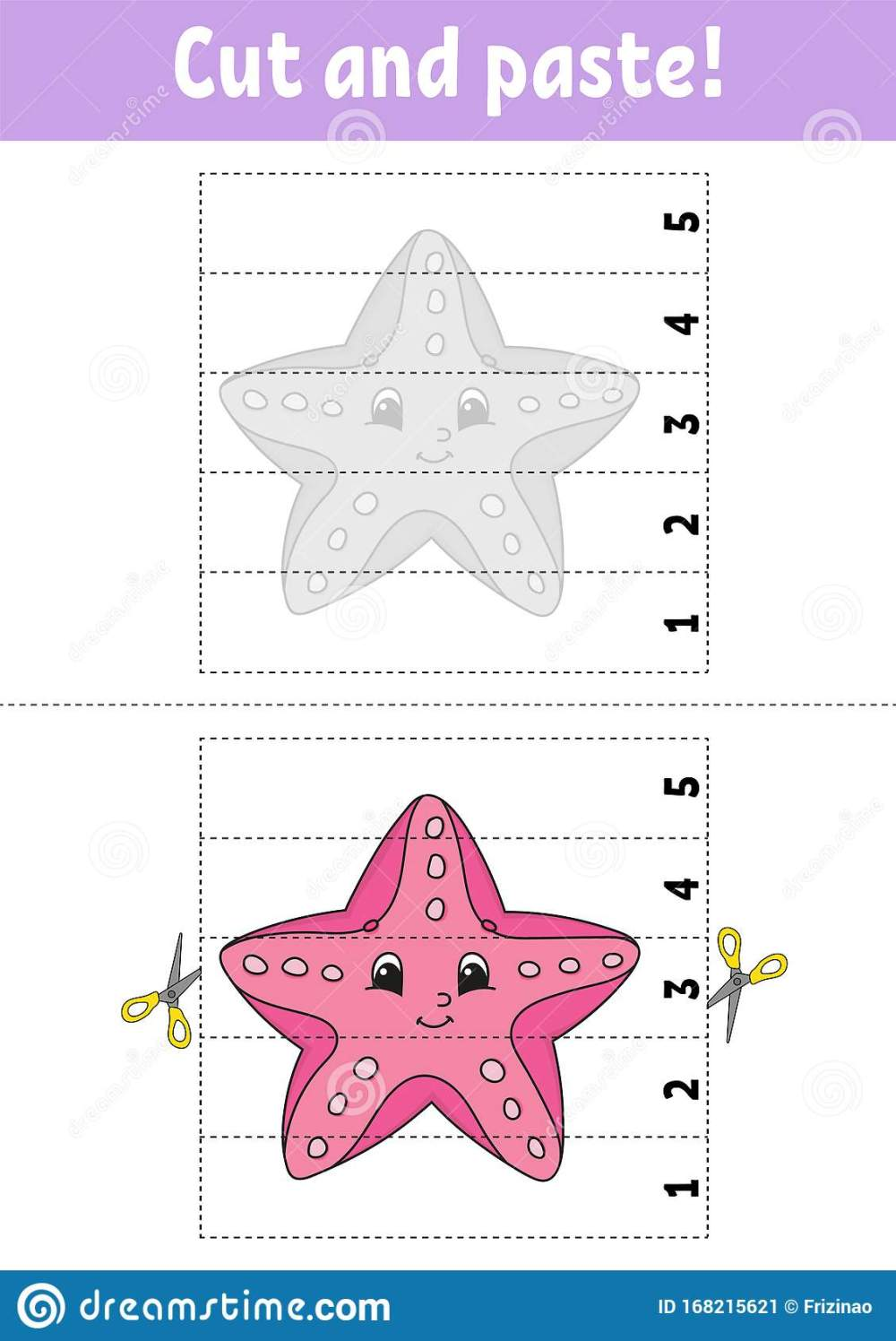 medium resolution of Learning Numbers 1-5. Cut And Glue. Starfish Character. Education  Developing Worksheet. Game For Kids. Activity Page. Color Stock Vector -  Illustration of beach
