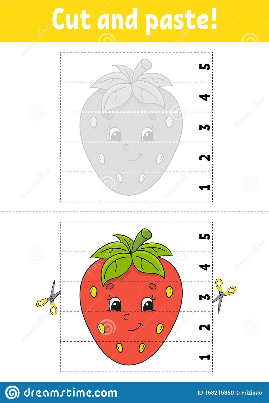 Learning Numbers 1 5 Cut And Glue Strawberry Character