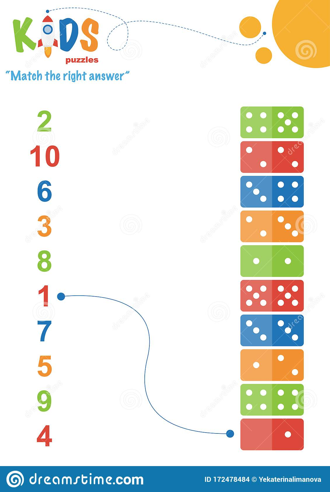 Learning Numbers Worksheet Math Worksheet Match The Right