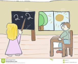Learning In The School Artistic Drawing Stock Illustration Illustration of loan teacher: 82890111