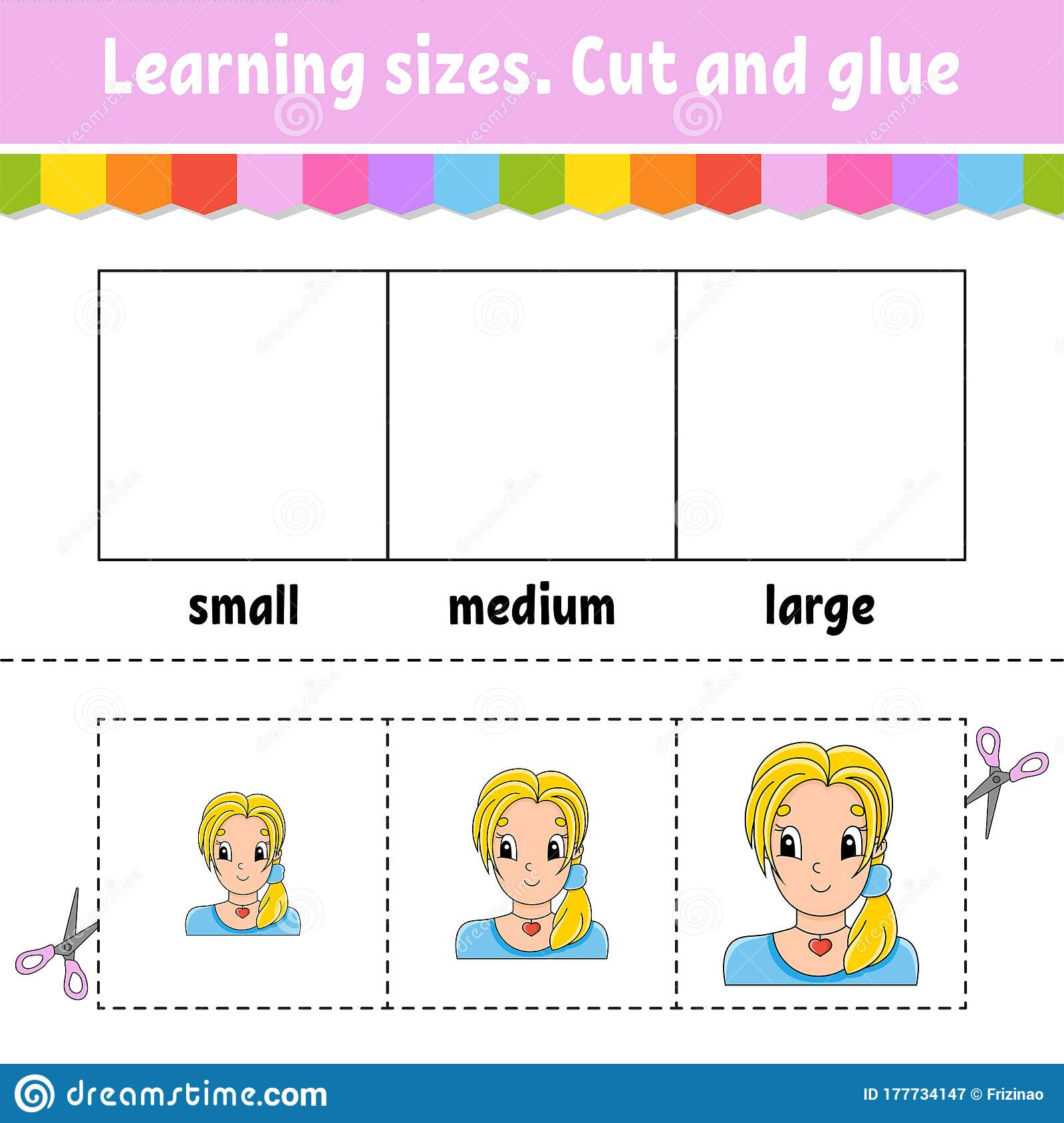 Learning Sizes Cut And Glue Easy Level Color Activity