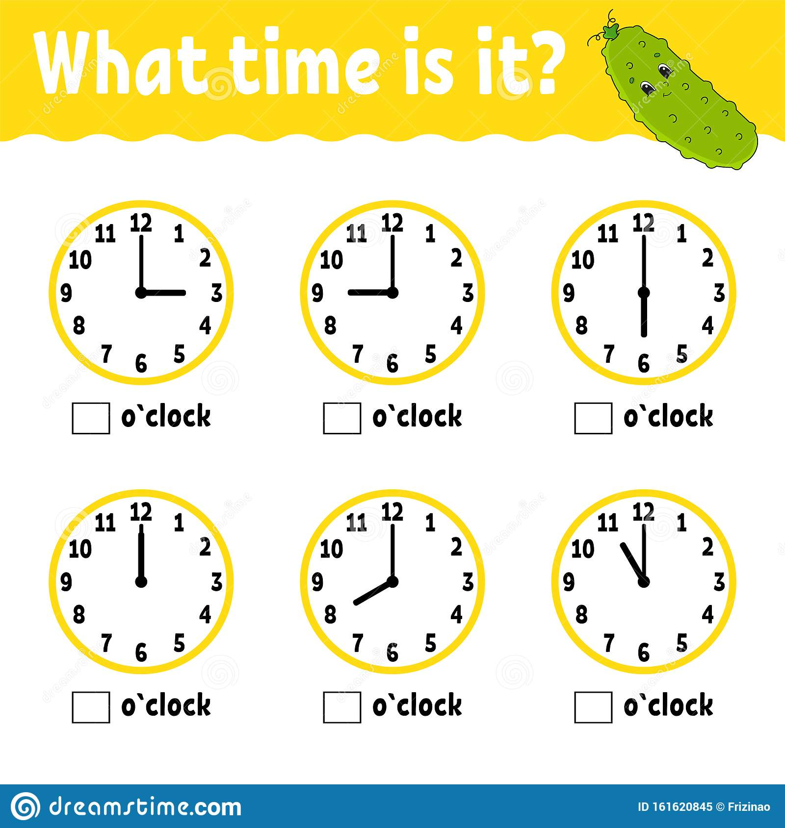 hight resolution of Learning Time On The Clock. Educational Activity Worksheet For Kids And  Toddlers. Game For Children. Simple Flat Isolated Vector Stock Vector -  Illustration of pastime
