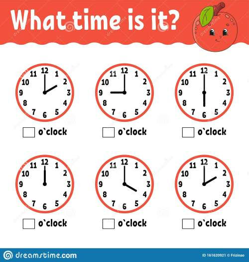 small resolution of Learning Time On The Clock. Educational Activity Worksheet For Kids And  Toddlers. Game For Children. Simple Flat Isolated Vector Stock Vector -  Illustration of pastime