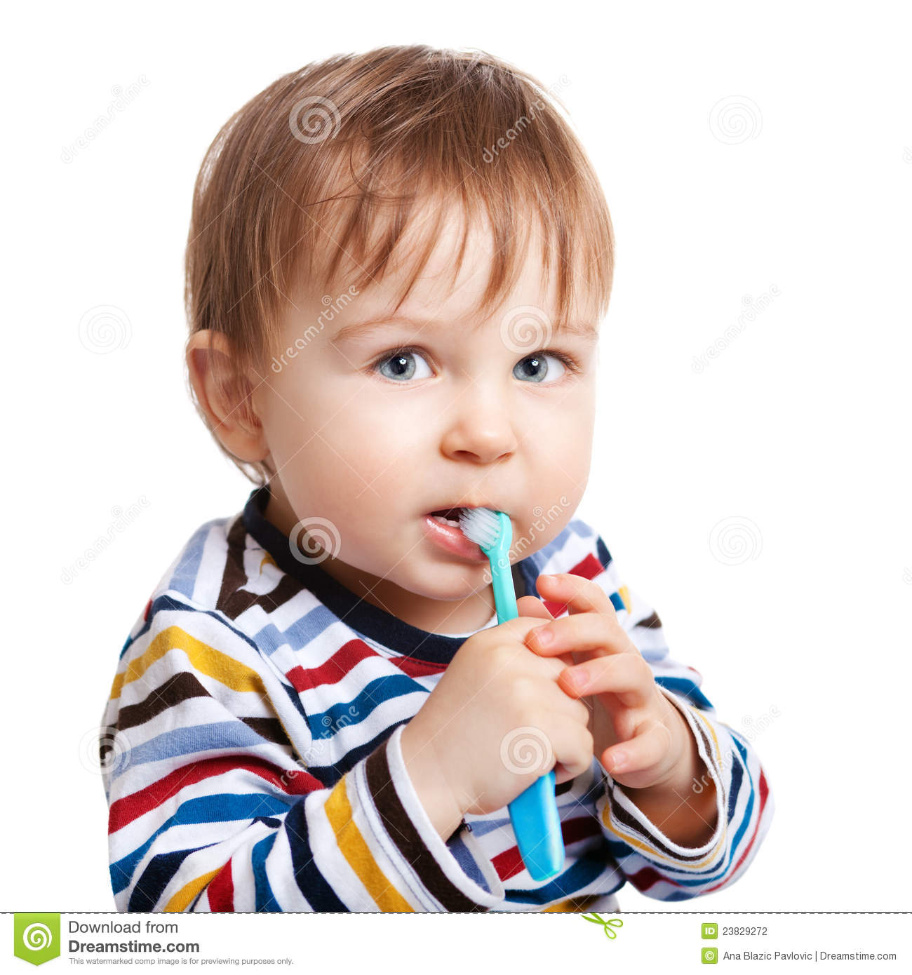 Learning To Brush Teeth Stock Photography