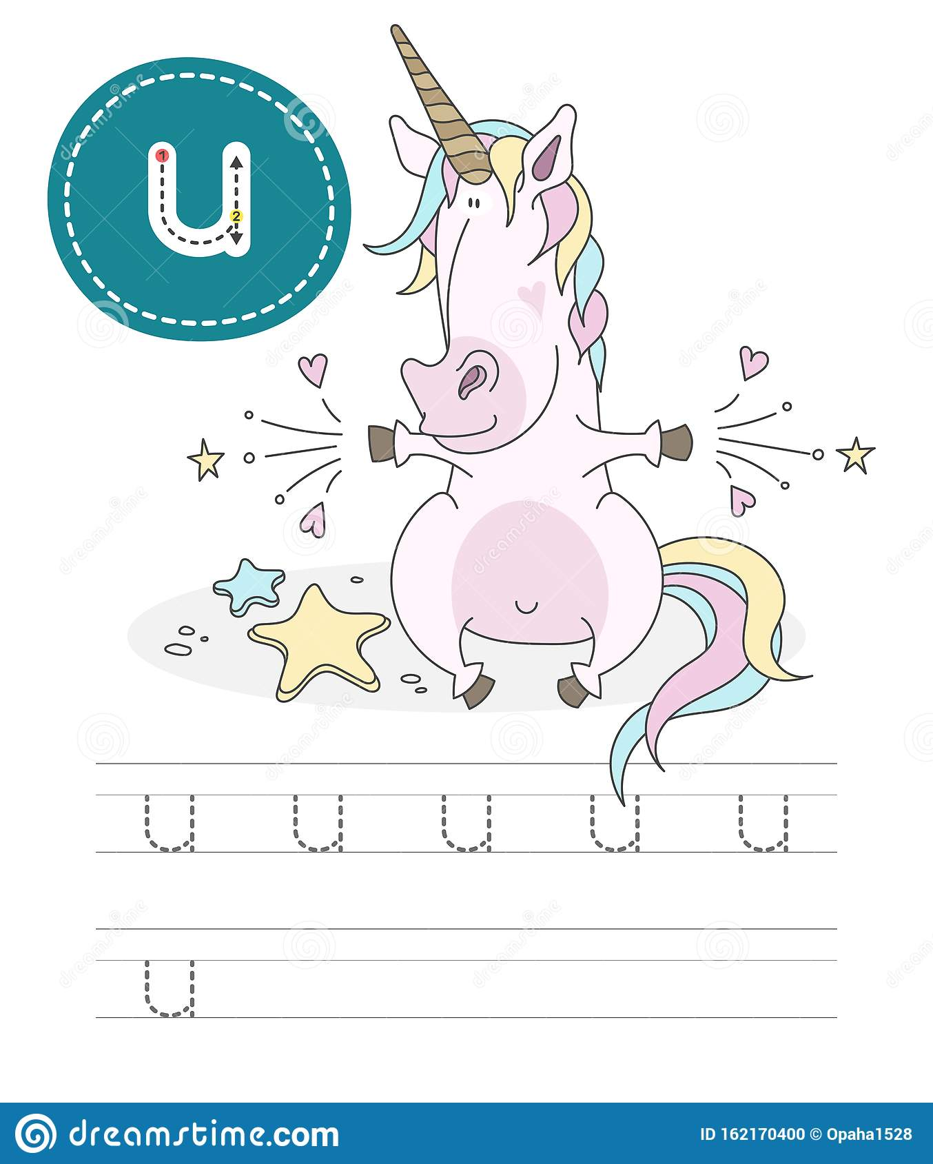 Funny Unicorn And Letters U Stock Vector