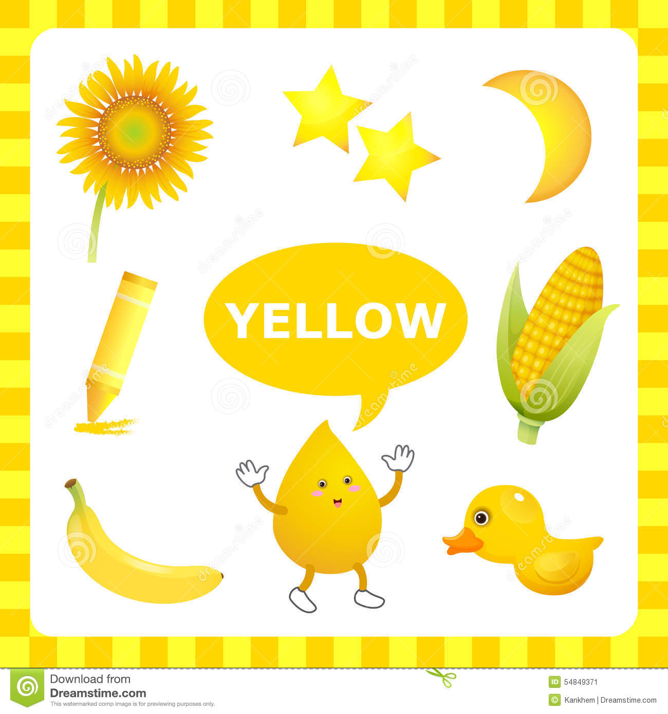 Learning Yellow Color Stock Vector Illustration Of Duck