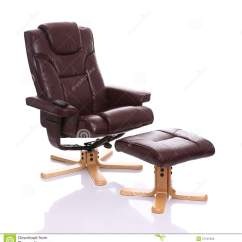 Swivel Chair Wooden Legs Balanced Active Sitting Leather Heated Recliner With Footstool Stock Image