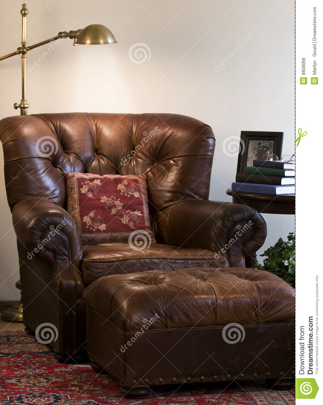 Reading Chair And Ottoman Leather Reading Chair Stock Photo Image Of Lamp Indoor