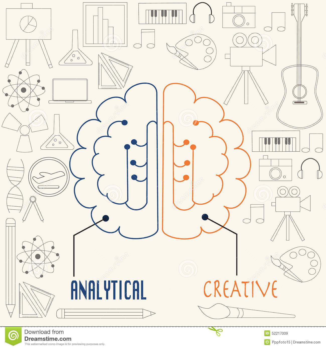 left side brain functions diagram mercury smartcraft dts wiring and right concept stock vector illustration