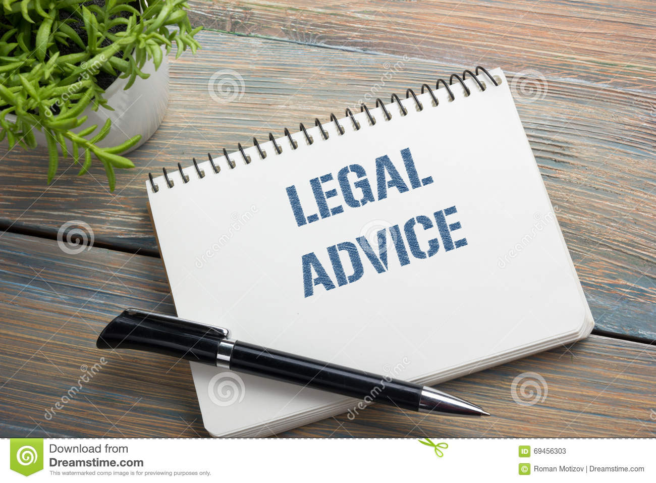 Legal Advice Notepad With Message Pen And Flower Office
