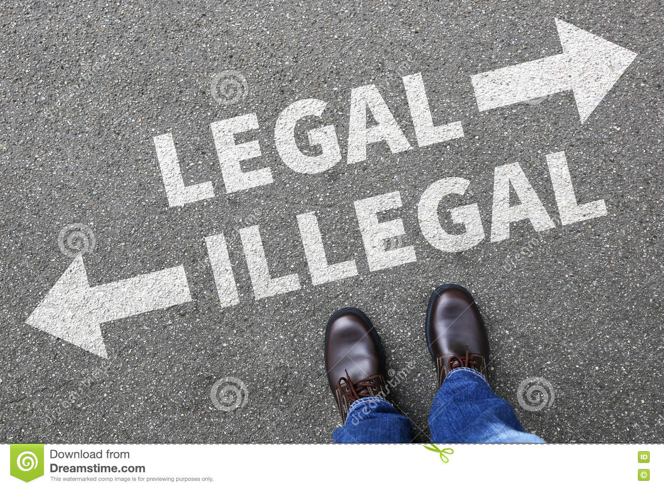 Legal Illegal Businessman Business Man Concept Decision