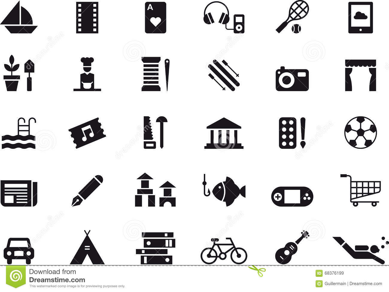 Leisure Activity Icon Set Stock Vector Illustration Of Console