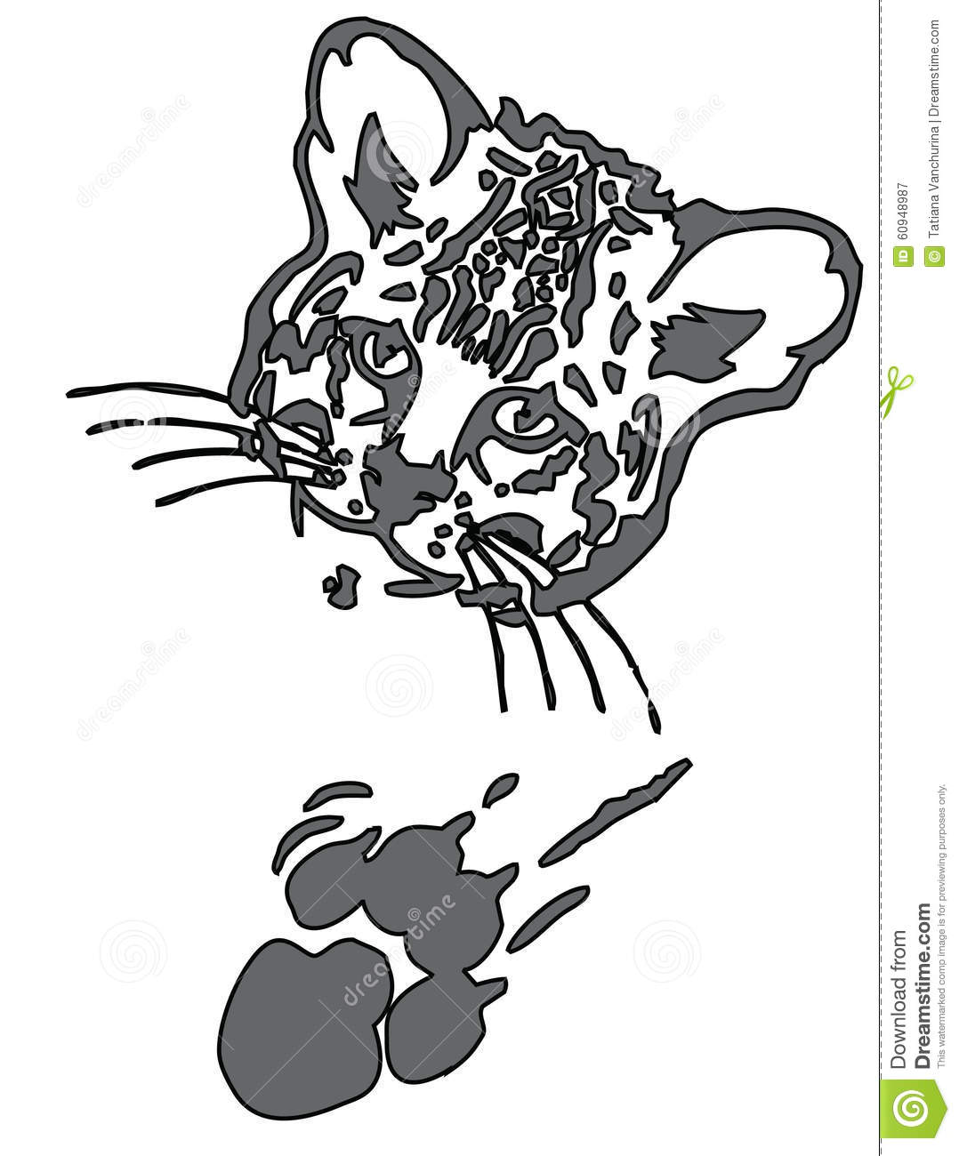 Leopard Puma Or Jaguar Face With Print Of Paw Stock Vector