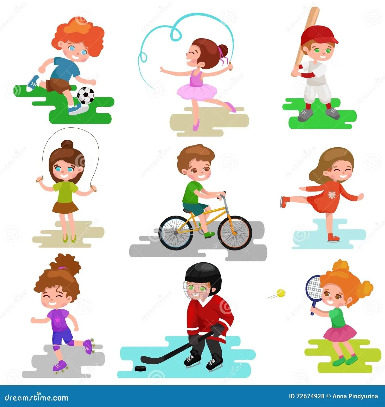 Les Enfants Folatrent Garcon Et Fille Jouant Le Vecteur