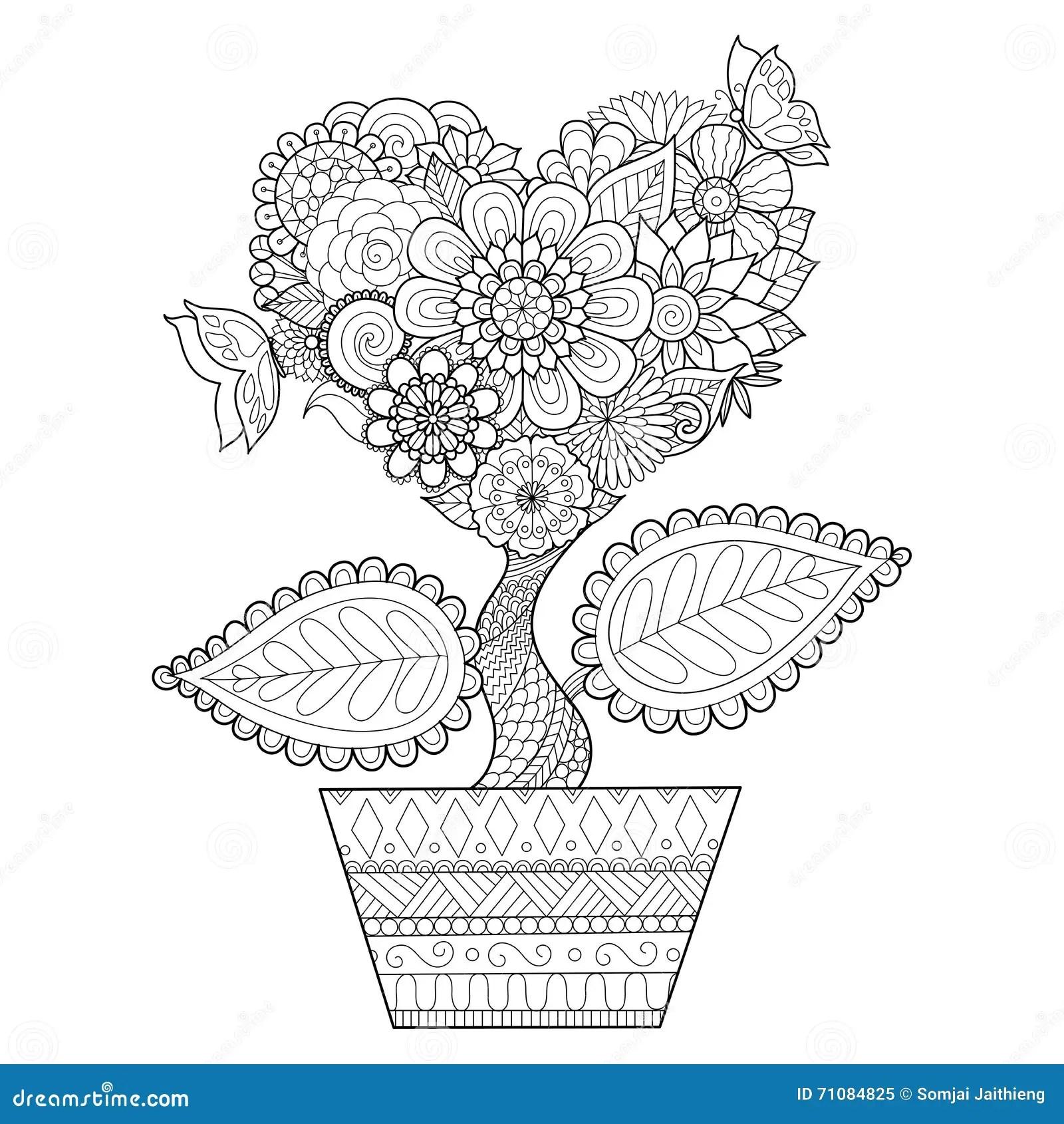 Les Fleurs Dans La Forme De Coeur Sur Schéma Pot