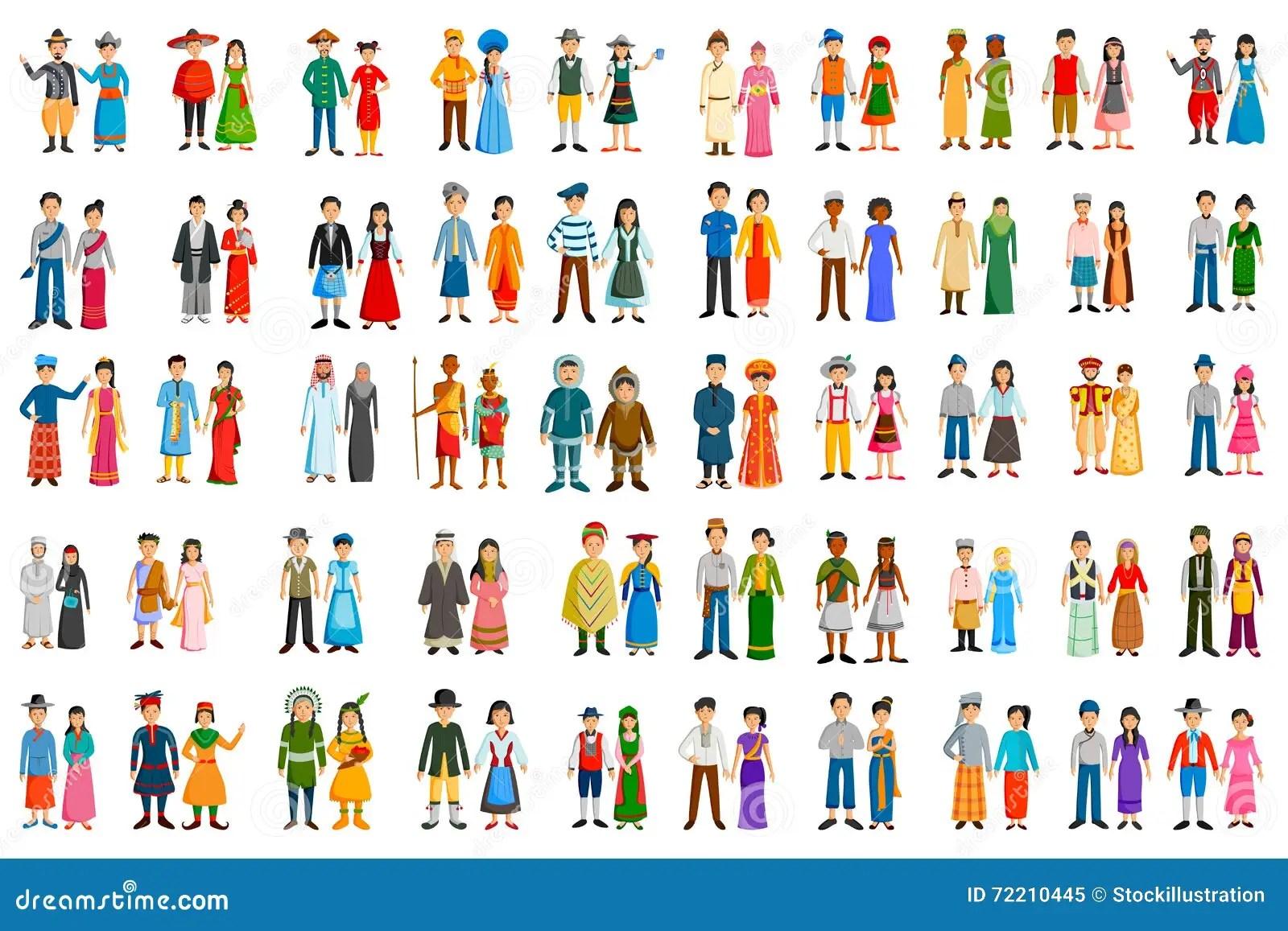Les Gens De Differents Pays Dans Le Costume Traditionnel
