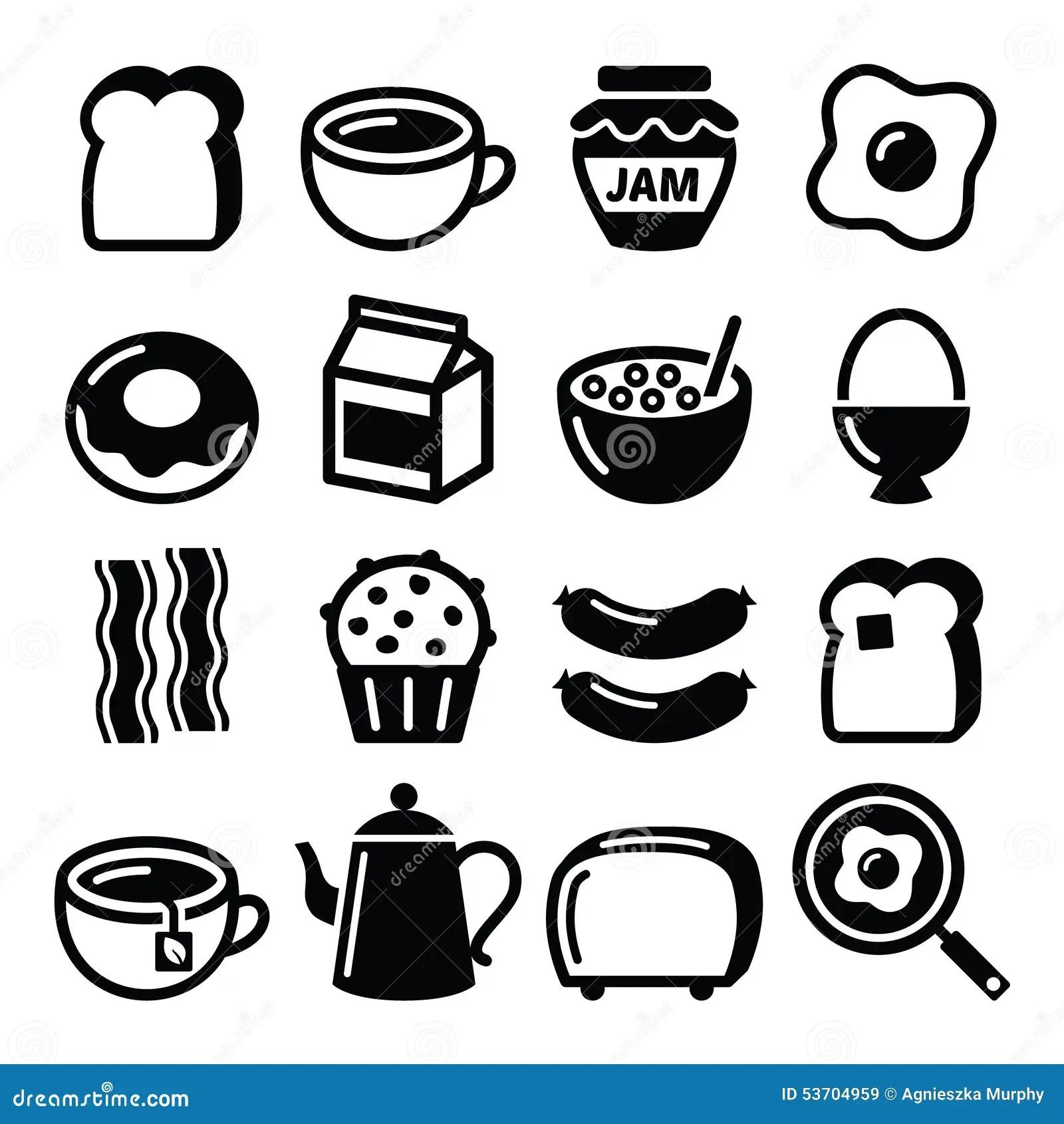 Les Icones De Vecteur De Nourriture De Petit Dejeuner Ont