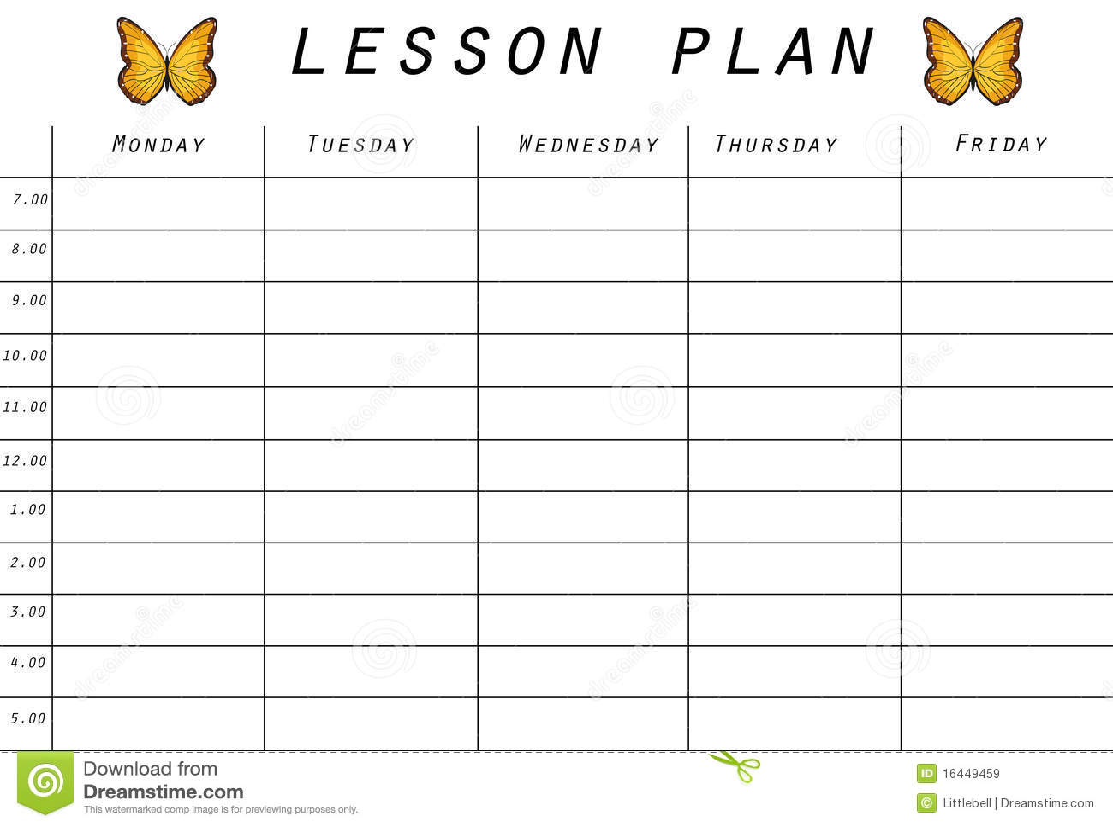 Lesson Plan Prototype Stock Illustration Illustration Of School