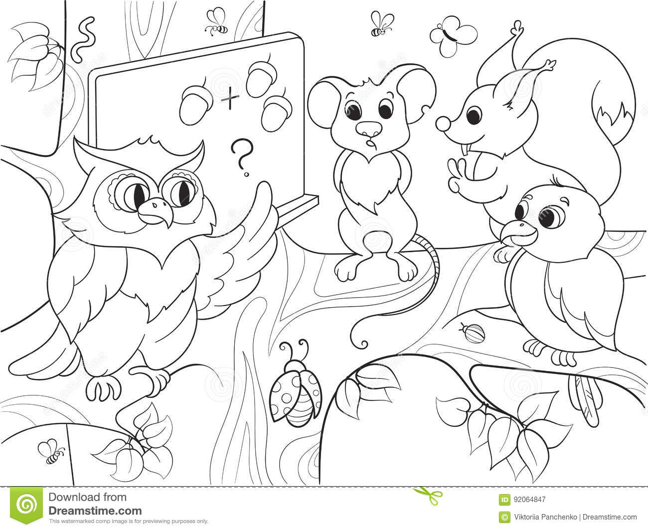 Lesson In The School Of An Owl In The Woods Coloring Book