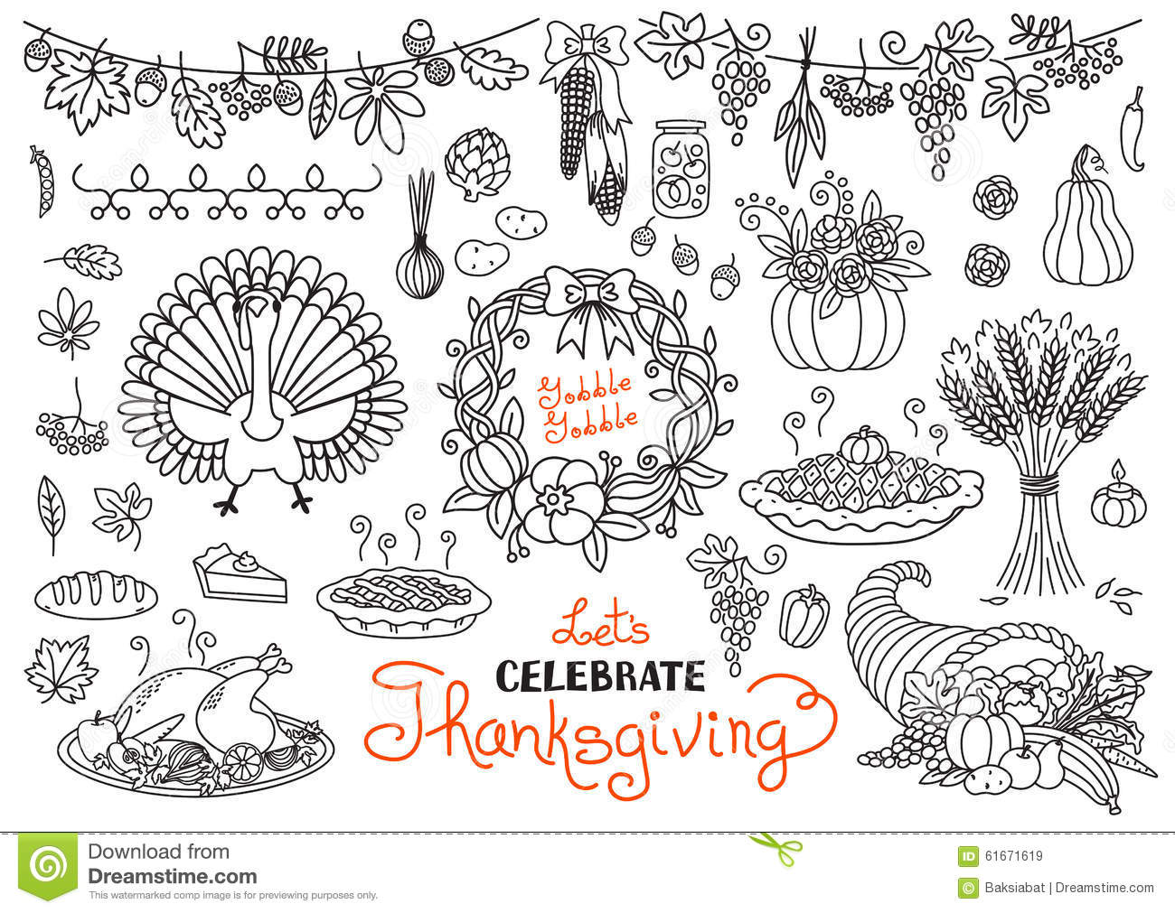 Thanksgiving Day Doodles Collection Vector Illustration