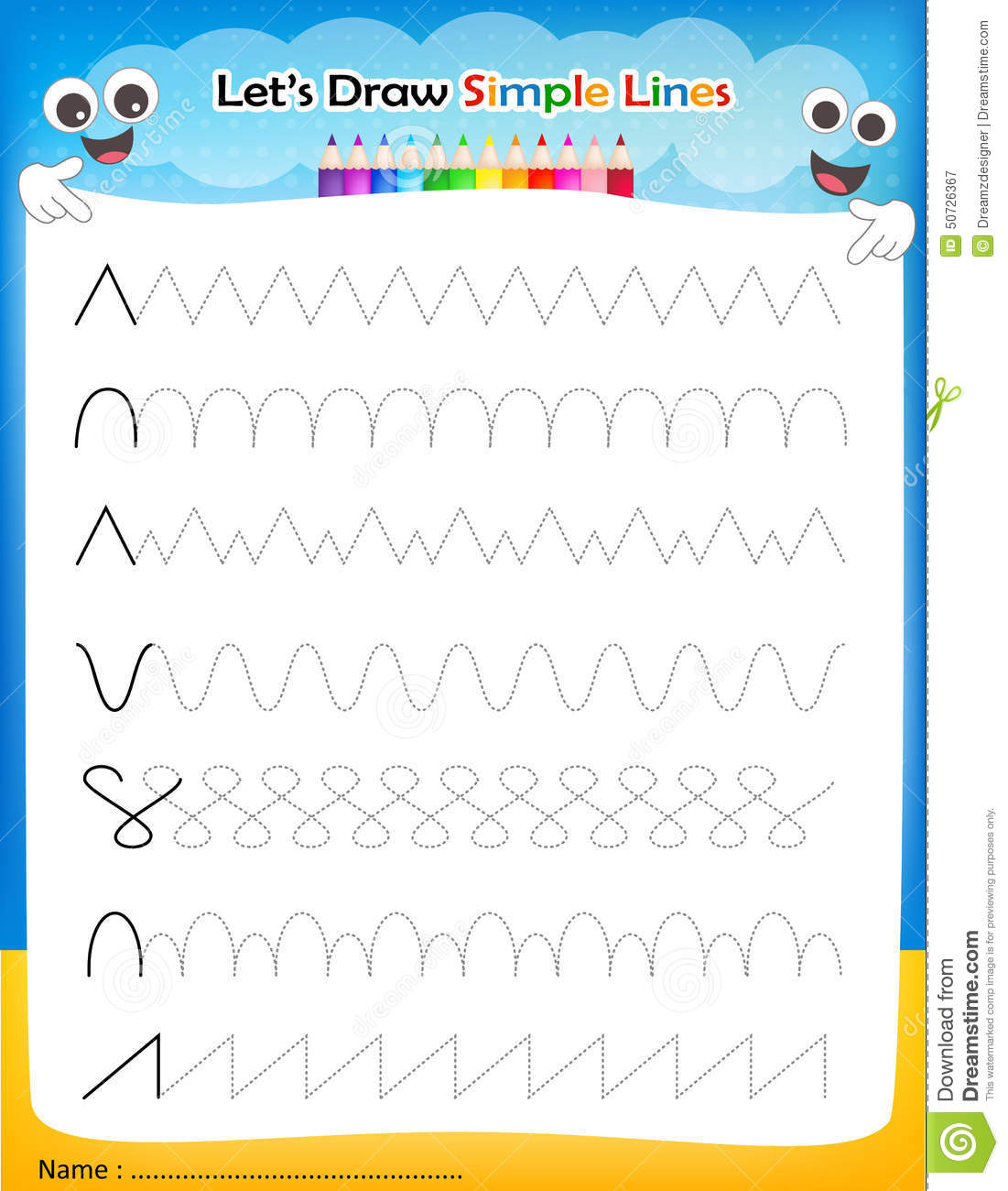 Let S Draw Simple Lines Worksheet Stock Vector