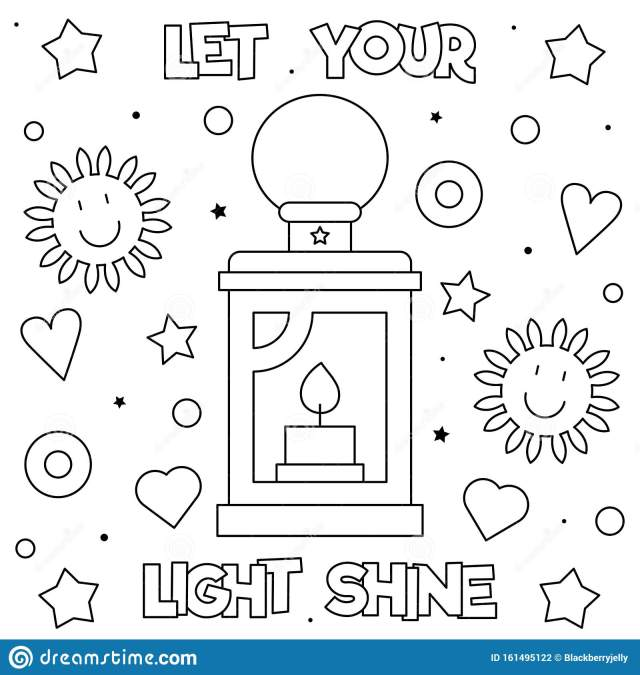 Let Your Light Shine. Coloring Page. Black and White Vector