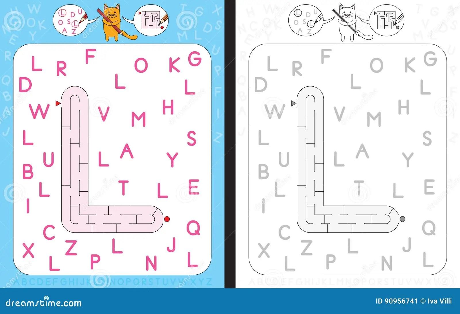 Letra L Del Laberinto Ilustracion Del Vector Ilustracion