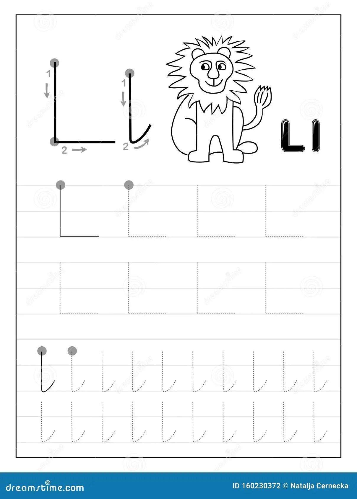 Letra L Do Alfabeto De Rastreamento Paginas Educacionais
