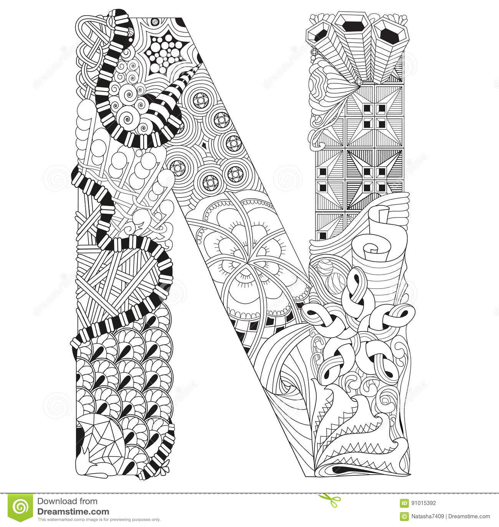 Letra N Para Colorear Objeto Decorativo Del Zentangle Del