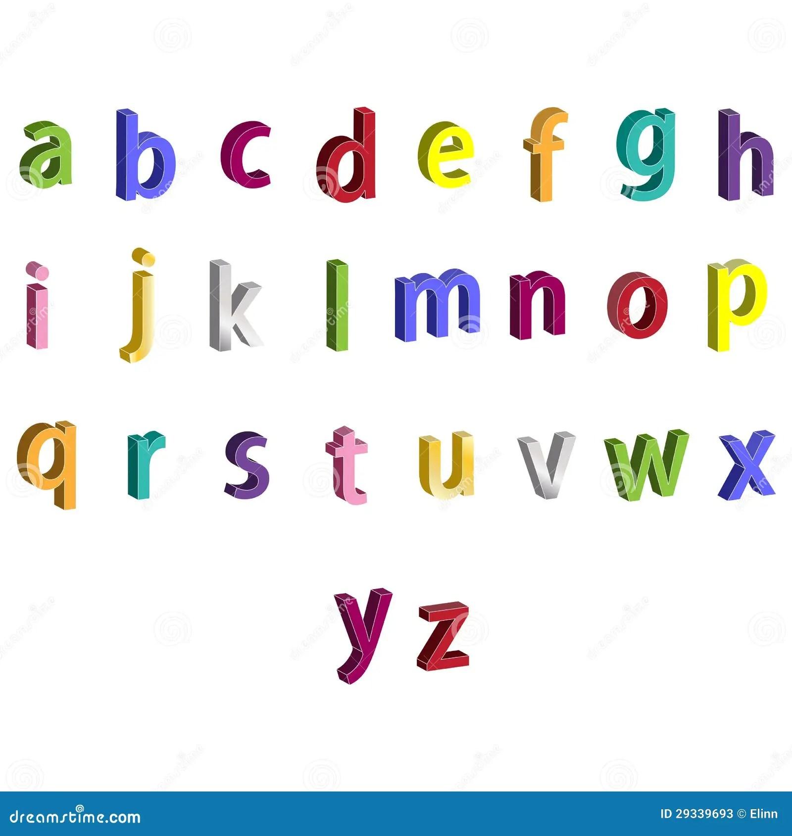 Letras Coloridas Pequenas Do Alfabeto 3d Ilustracao Stock