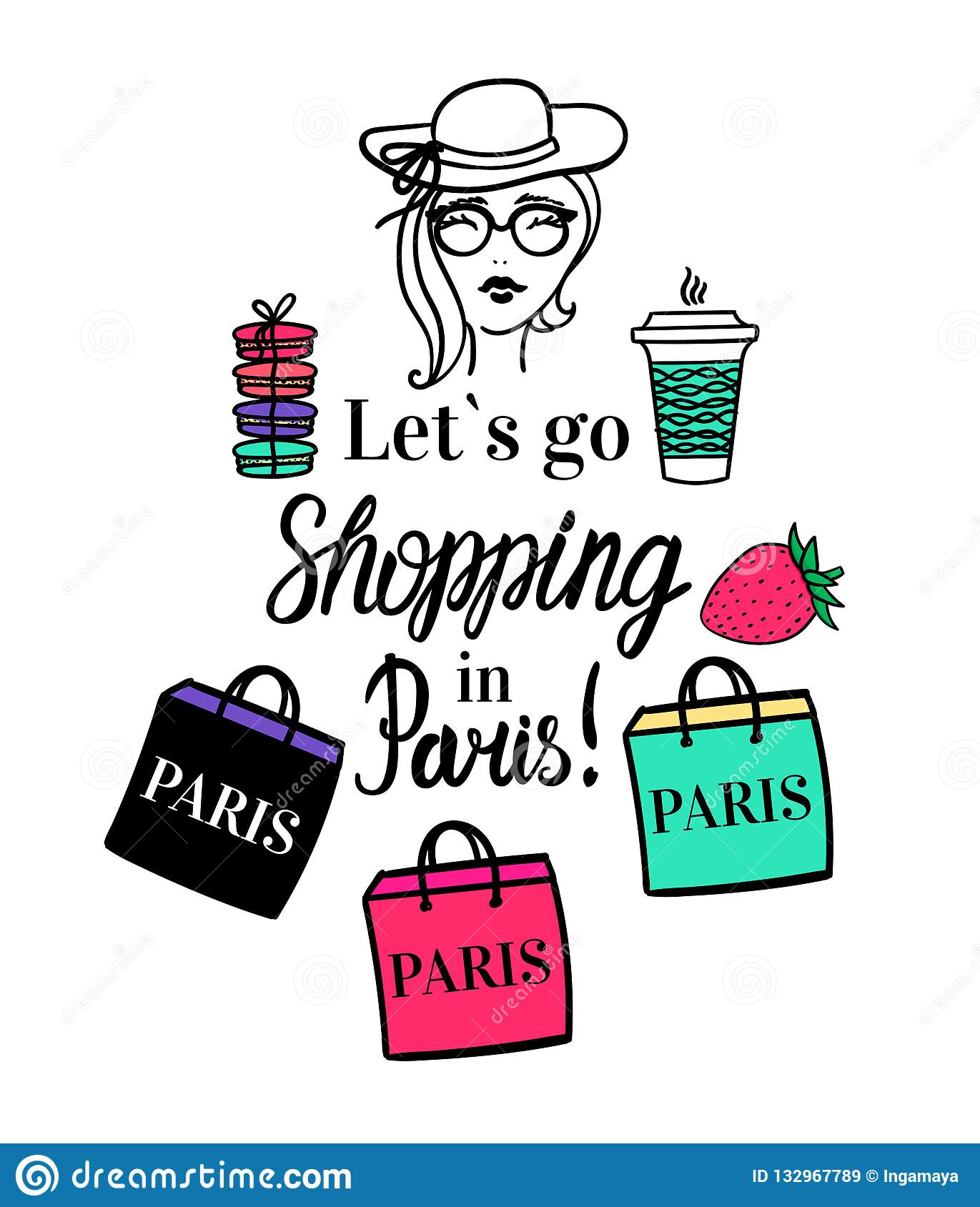 Lets Go Shopping In Paris Vector Isolated Fashion