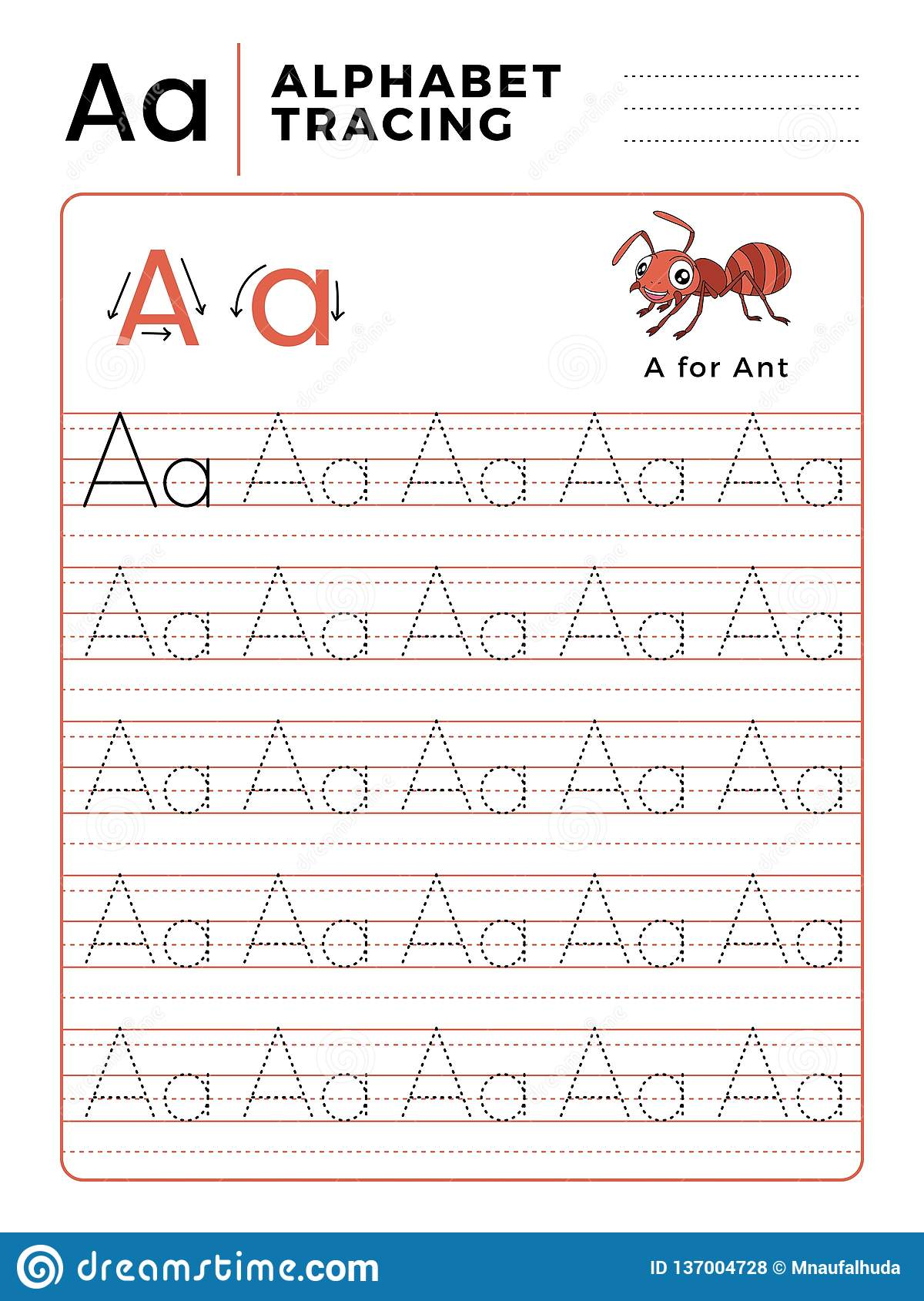 Letter A Alphabet Tracing Book With Example And Funny Ant
