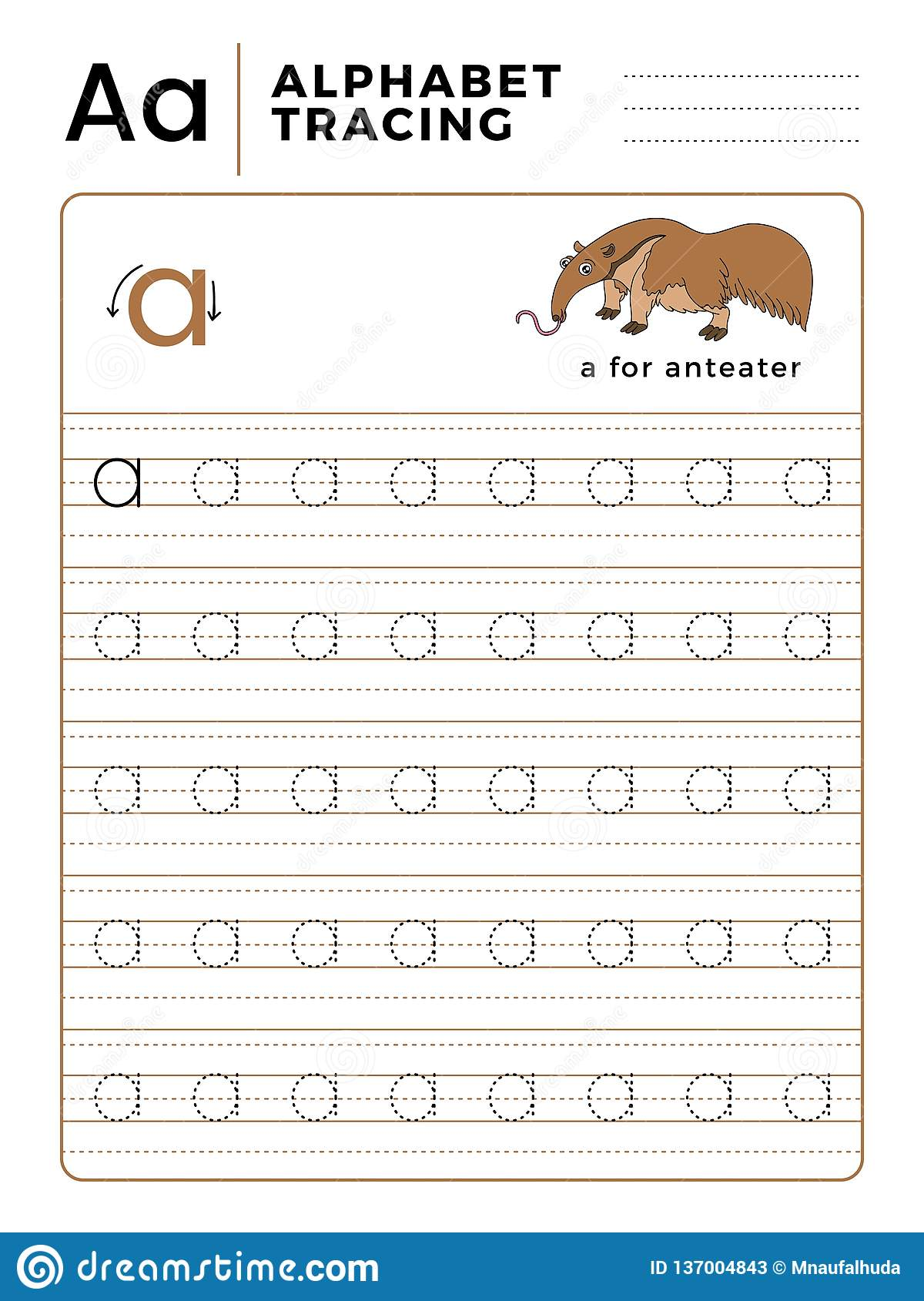 Letter A Alphabet Tracing Book With Example And Funny Anteater Cartoon Preschool Worksheet For