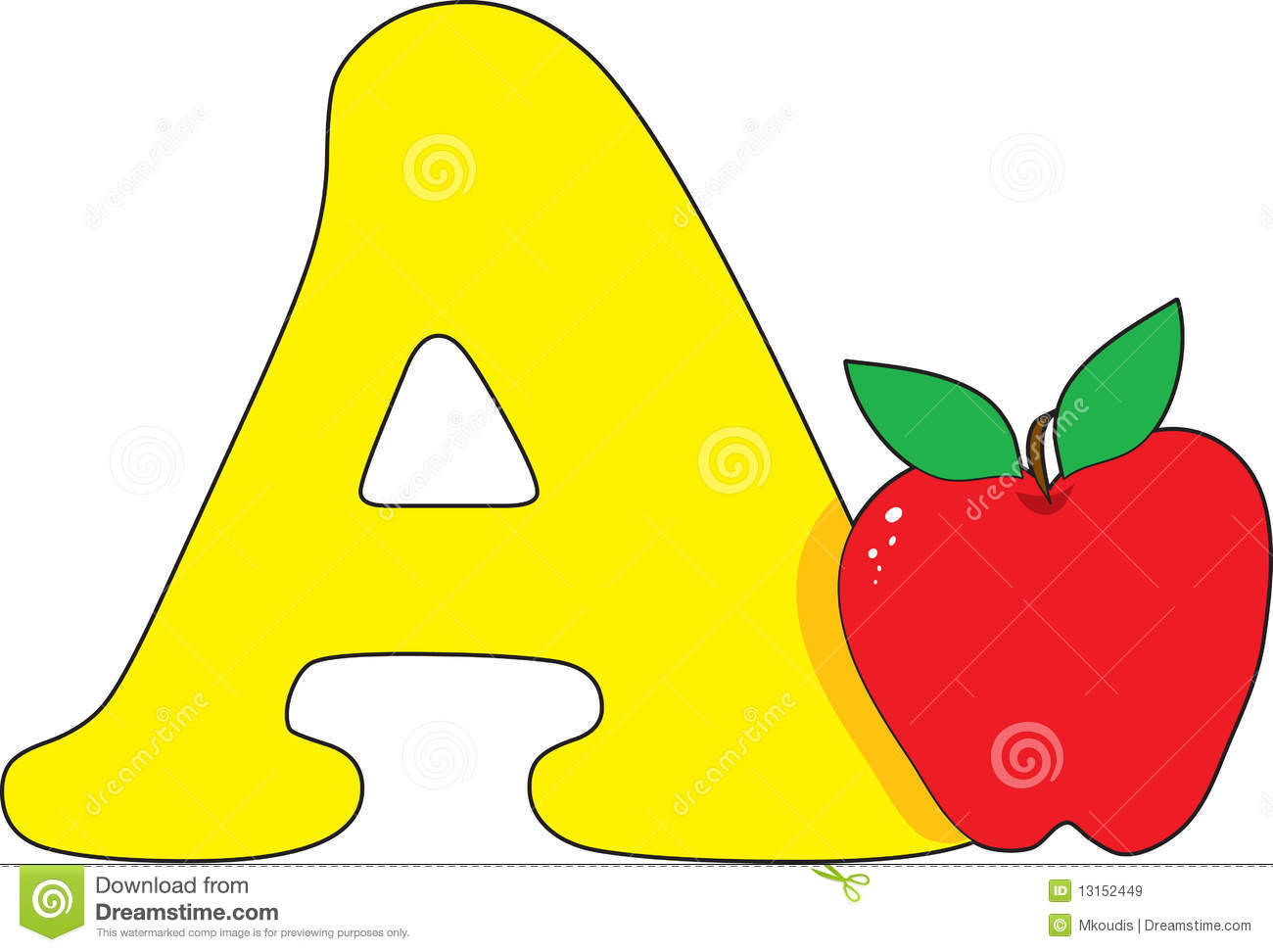 Letter A With An Apple Stock Vector Illustration Of Apple