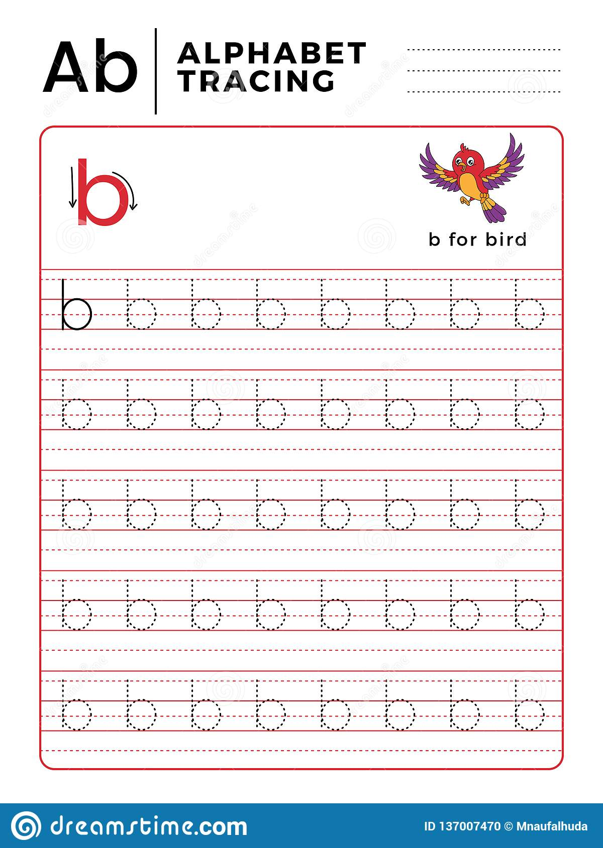 Letter B Alphabet Tracing Book With Example And Funny Bird
