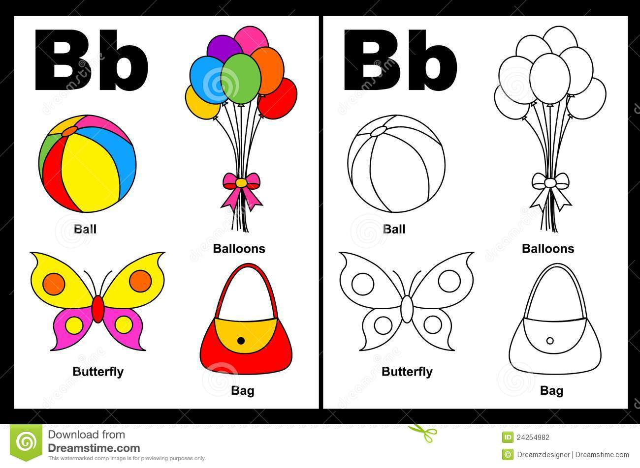 Letter B Worksheet Stock Vector Illustration Of Child