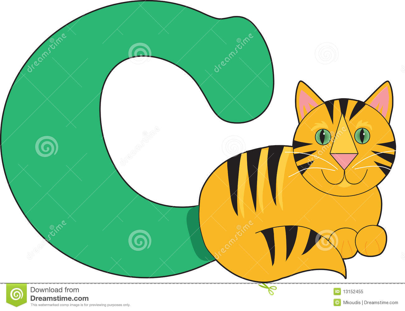 Letter C With A Cat Stock Vector Illustration Of Letter