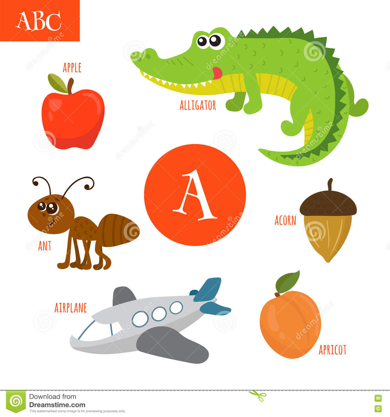 Letter A Cartoon Alphabet For Children Alligator Ant