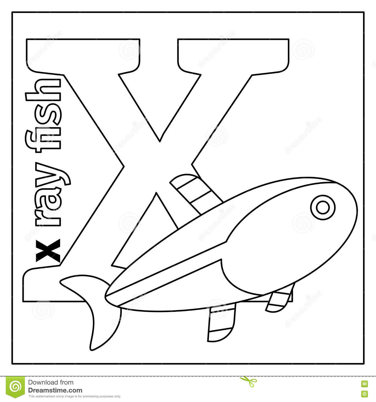 Letter X Coloring Page Stock Vector Illustration Of