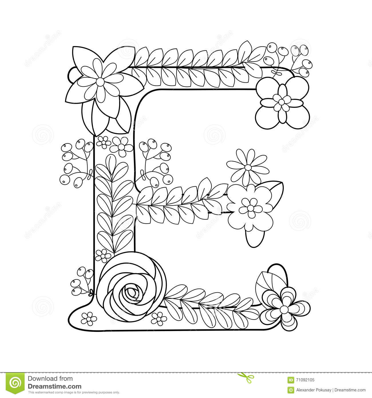 Letter E Coloring Book For Adults Vector Stock Vector