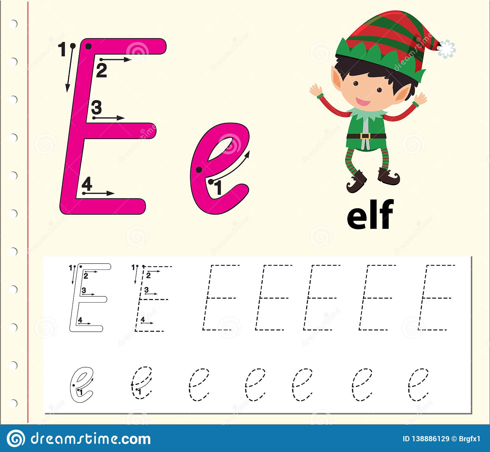 Letter E Tracing Alphabet Worksheets Stock Vector